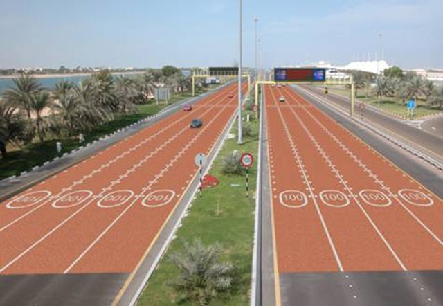 Speed Limits Painted on Bright Red Sections of Roads in Abu Dhabi