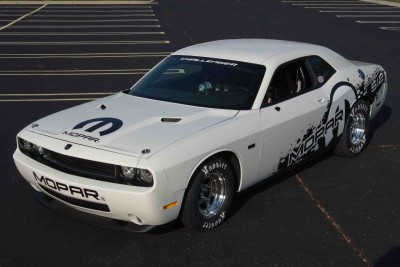 2011 Dodge Challenger Drag Pak.  Mopar is dropping a V-10 into the iconic Dodge Challenger, making it the only factory-built V-10-powered race-ready drag car.  The new race-only V-10 powered rear-wheel drive 2011 Dodge Challenger Drag Pak features an 8.4-liter 512 cubic-inch engine with a 2-speed automatic transmission.  The Manufacturer's Suggested Retail Price is $85,000.  Production starts early in 2011.  For more info, go to www.Mopar.com.