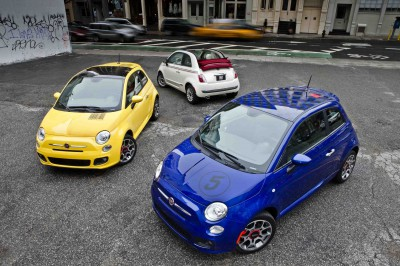 """2012 Fiat 500 Sport models with """"Barcode"""" decal (left) and """"Chec"""