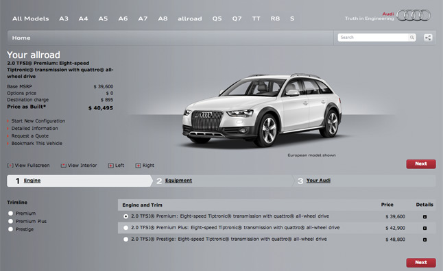 2013 Audi Allroad Online Configurator Launched