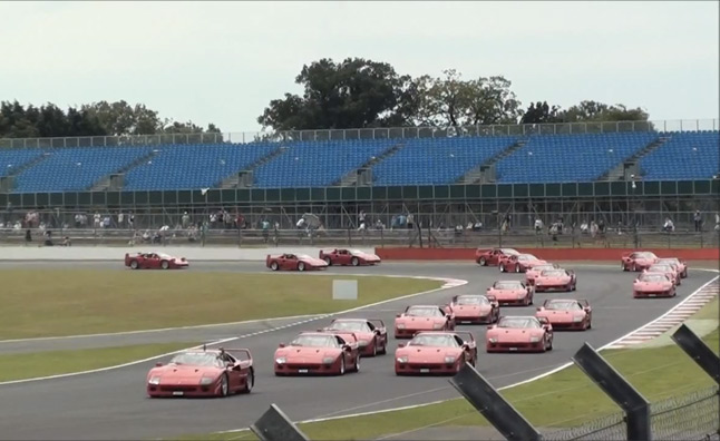 Watch 62 Ferrari F40s Set a World Record at the Silverstone Classic – Video