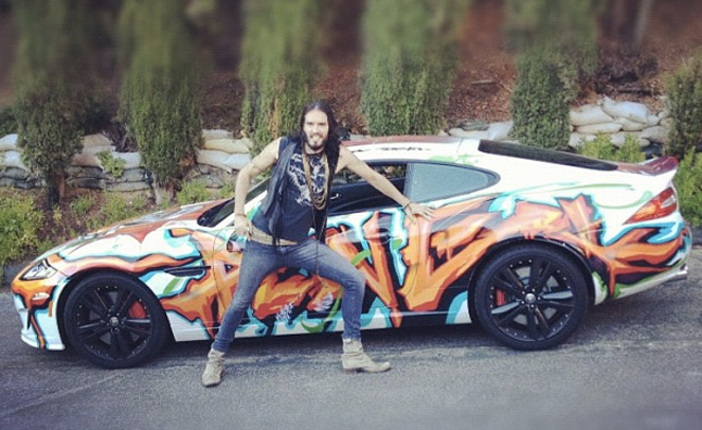 Russell Brand Spotted with Tagged Jaguar XKR-S