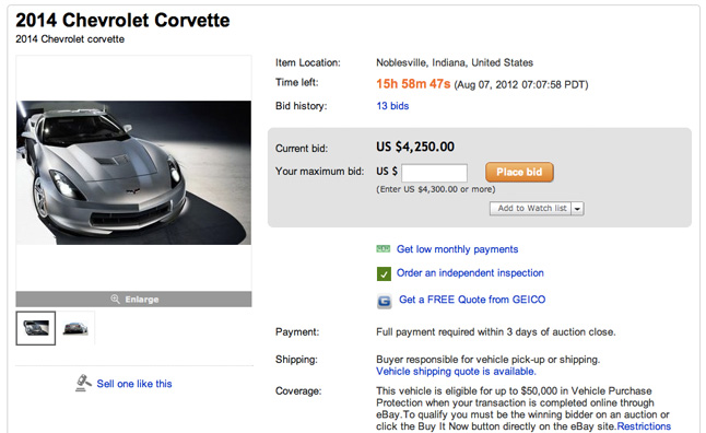 2014 Corvette Already For Sale on eBay