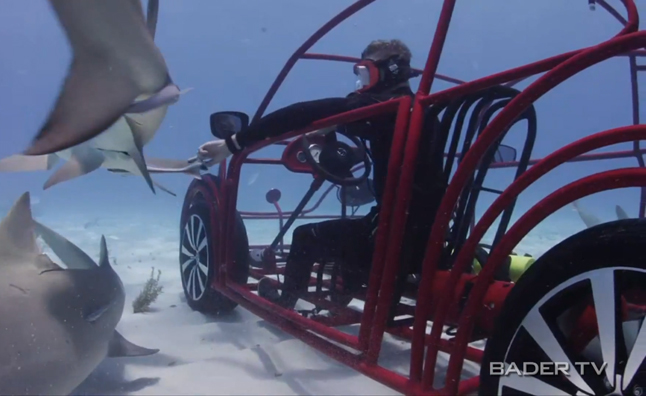 Volkswagen Beetle Shark Cage Drives Under Water- Video