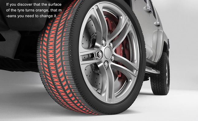 'Discolor Tyre' Turns Orange When Tread is Gone