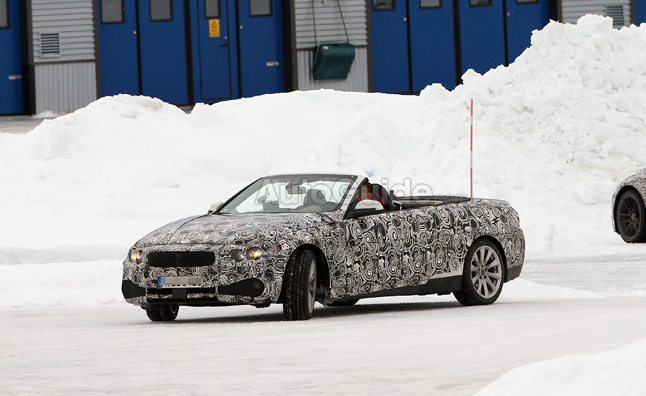 BMW 4 Series Convertible Spied Top Down in the Snow