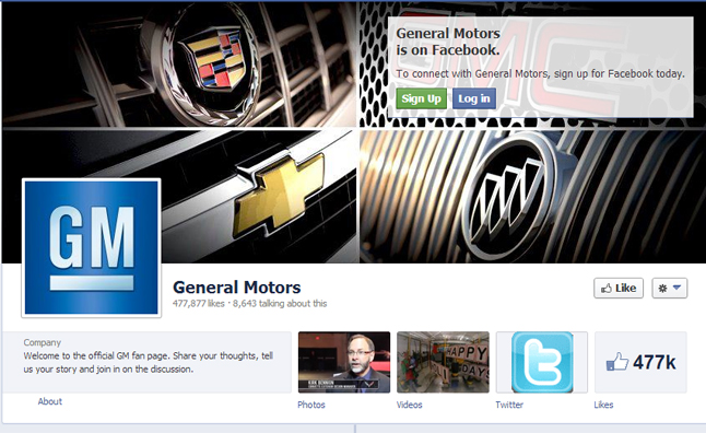 General Motors Advertising on Facebook Again
