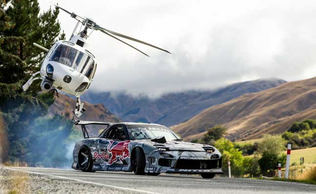 Red Bulls Mad Mike and His Mazda RX-7 Drift Crown Range in New Zealand  Video