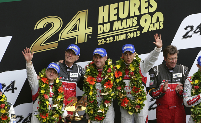 audi victory at le mans podium 2013