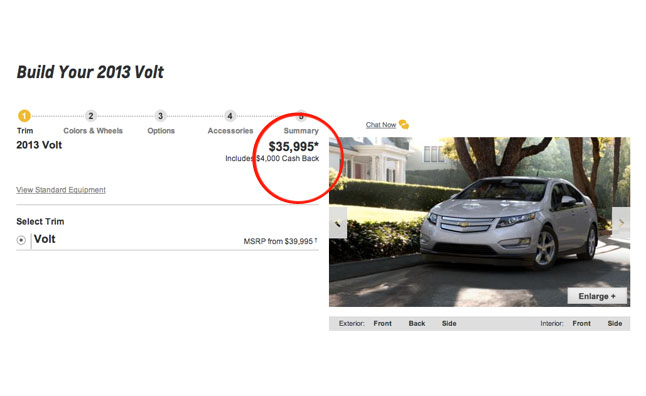 2013 Chevrolet Volt Has up to $5000 in Incentives