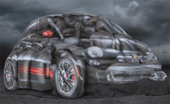 Fiat 500 Abarth Recreated With Women, Body Paint