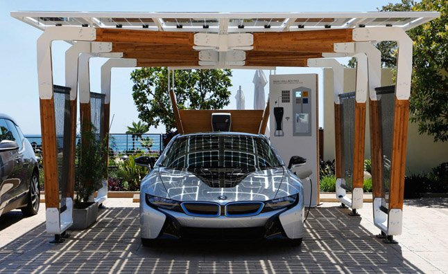 BMW's Solar-Powered Carport Concept Charges EVs