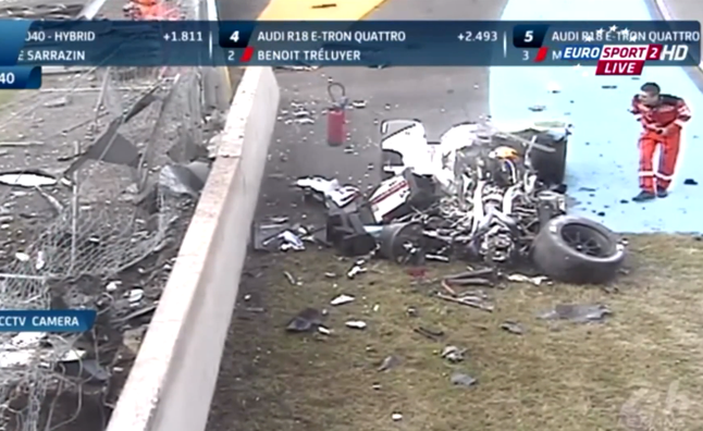 Audi R18 E-Tron Quattro Wrecked in Practice Run