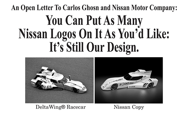 Nissan Targeted in New Deltawing Ads Amid Lawsuit