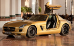 Report: Mercedes Debuts Matte-Gold SLS AMG Supercar at Dubai Auto Show