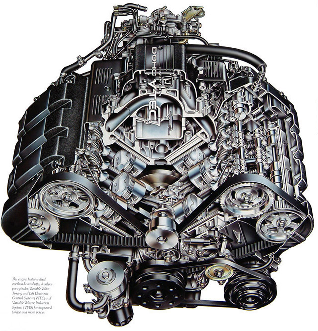 NSX Engine Cutaway Illustration