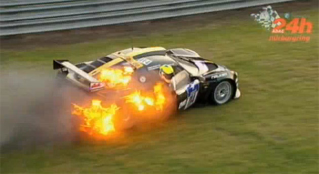 Driver Jumps Out Of Burning Lotus Exige At 24 Hours Of
