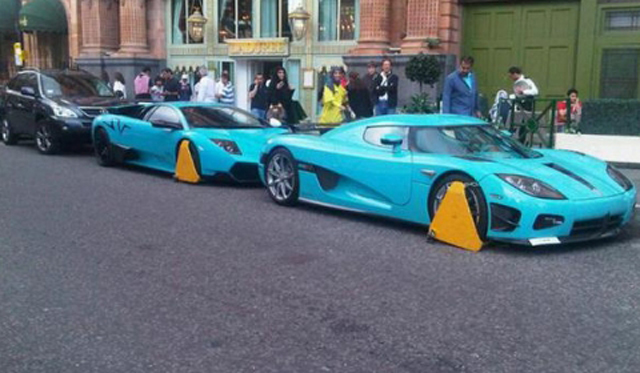 Turquoise Supercars Belong To Qatari Royal Family, Cars Booted Outside Their $2.5 Billion Store (Video Inside)