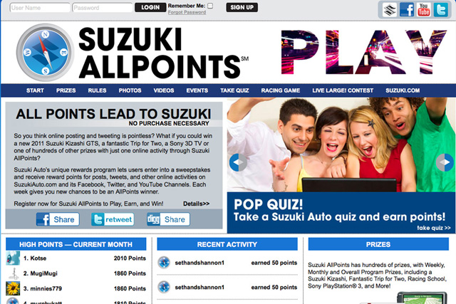 Suzuki Allpoints Social Media Campaign Will Have You Tweeting To Win A 2011 Kizashi 187 Autoguide