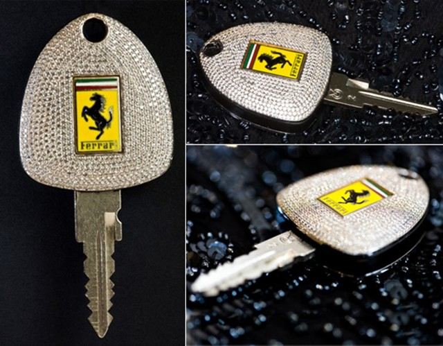 Bespoke Ferrari Car Key Sparkles With Diamonds And Gold