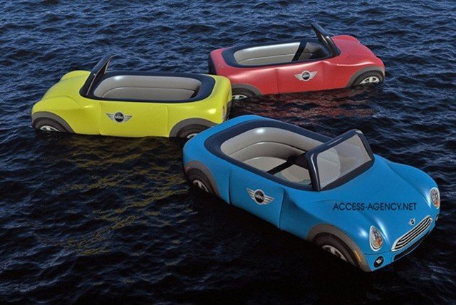 Water Toys For Grown Ups : Surfs up with mini cooper convertible inflatable beach
