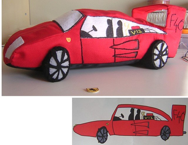 Turn Your Kid S Racing Car Drawings Into Plush Toys