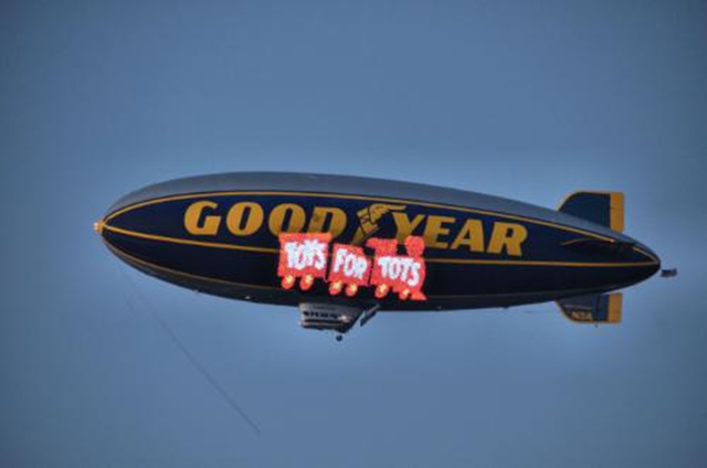 goodyear blimps join  marines  toys  tots maneuvers autoguidecom news