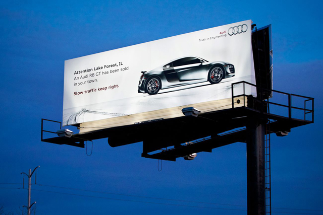 Audi R8 Gt Billboard Warns Locals 187 Autoguide Com News
