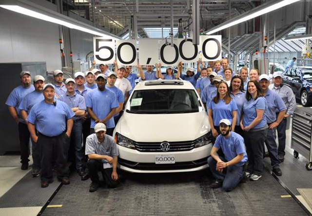 The 50 000th Vw Pat Rolled Off Embly Line This Week At Company S Manufacturing Facility In Chattanooga Tennessee