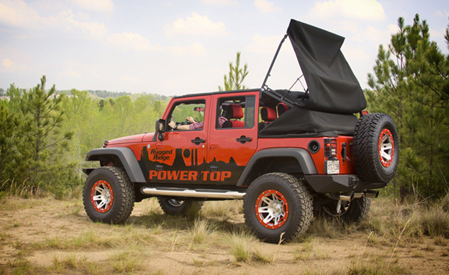 turn your jk jeep wrangler into a soft top convertible with rugged ridge powertop autoguide. Black Bedroom Furniture Sets. Home Design Ideas