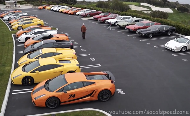 lamborghinis overtake parking lot in massive meetup. Black Bedroom Furniture Sets. Home Design Ideas
