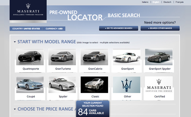 Maserati global pre owned vehicle locator site launches for Mercedes benz pre owned vehicle locator