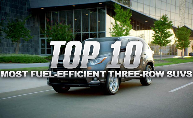 top 10 most fuel efficient three row suvs in the market for a three
