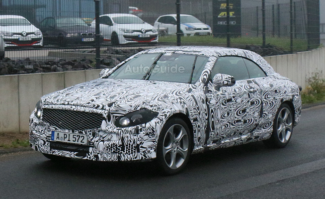 mercedes c class convertible spied with heavy camo mercedes benz forum. Black Bedroom Furniture Sets. Home Design Ideas