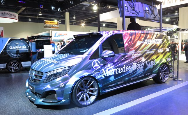 mercedes shows off four customized vans at sema autoguide   news
