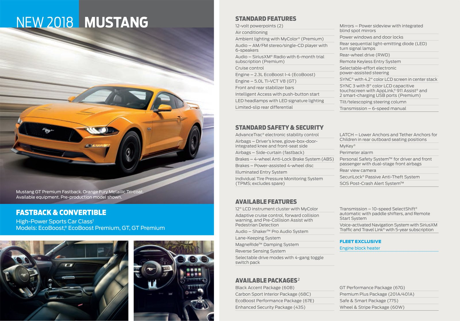 Ford Car Dealerships >> 2018 Ford Mustang Standard Features Revealed in Leaked Brochure » AutoGuide.com News