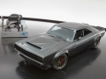 """The 1968 Dodge """"Super Charger"""" Charger Concept incorporates modern touches, including the new 1,000 horsepower """"Hellephant"""" 426 Supercharged Mopar Crate HEMI® Engine, shown in background, to reimagine one of the most iconic vehicles ever built by FCA US."""