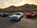 2019 Dodge Challenger Lineup: SRT Hellcat Widebody, SRT Hellcat Redeye Widebody, R/T Scat Pack Widebody (from left to right)