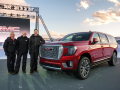 GMC Chief Engineer Full Size Truck & SUV Tim Asoklis (l to r), GMC Director of Design Matt Noone and Vice President Global Buick and GMC Duncan Aldred with the next-generation 2021 GMC Yukon XL Denali at its unveiling Tuesday, January 14, 2019 at an outdoor event near Vail, Colorado. (Photo by Steve Fecht for GMC)