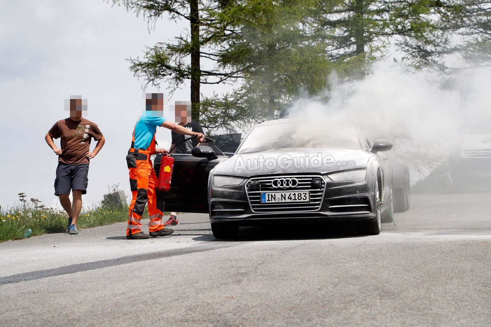 Audi A Test Car Goes Up In Flames During Testing AutoGuide - Audi car 04