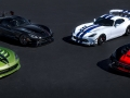 Dodge is celebrating the 25th anniversary and final year of Viper production with five exclusive limited-edition models, four of which are pictured here. (From left, the Viper Snakeskin Edition GTC, inspired by the original 2010 Snakeskin ACR; the Vooodoo II ACR, modeled after the original 2010 Viper VooDoo edition; the Viper GTS-R Commemorative Edition ACR, designed to pay tribute to one of the most distinguishable and iconic Viper paint schemes of all time – the white and blue combination of the 1998 Viper GTS-R GT2 Championship Edition; and the Viper 1:28 ACR, which pays tribute to the current production car single lap record of 1:28.65 set by champion driver Randy Pobst in a 2016 Dodge Viper ACR at historic Laguna Seca Raceway in Monterey, Calif., in October 2015. A fifth Dodge Dealer Edition Viper ACR, not shown, is available through select Dodge dealers.