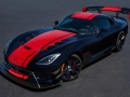 2017 Dodge Viper 1:28 Edition ACR (American Club Racer) pays tribute to the current production car single lap record of 1:28.65 set by champion driver Randy Pobst in a 2016 Dodge Viper ACR at historic Laguna Seca Raceway in Monterey, Calif., in October 2015.  This special edition Viper model features black exterior and painted rear wing with red ACR stripes, Extreme Aero Package, Carbon Ceramic brakes, 1:28 Edition exterior sill decal, ACR interior with red accent stitching, serialized instrument panel 1:28 Edition badge, along with a custom car cover that matches the exterior paint scheme and showcases the customer name above the driver's side door. As many as 28 units of this new special edition configuration will be built for the 2017 model year.