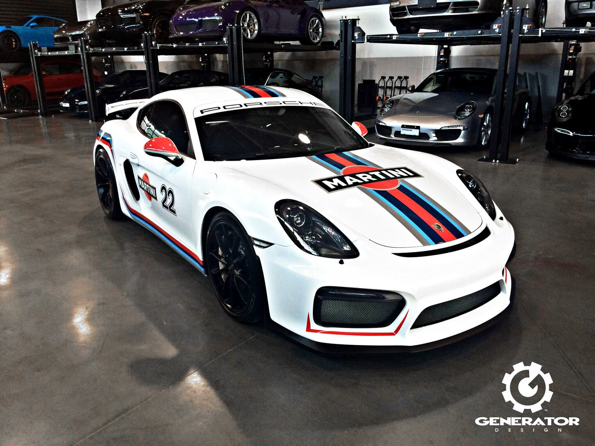 porsche cayman gt4 looks so damn good in martini livery. Black Bedroom Furniture Sets. Home Design Ideas