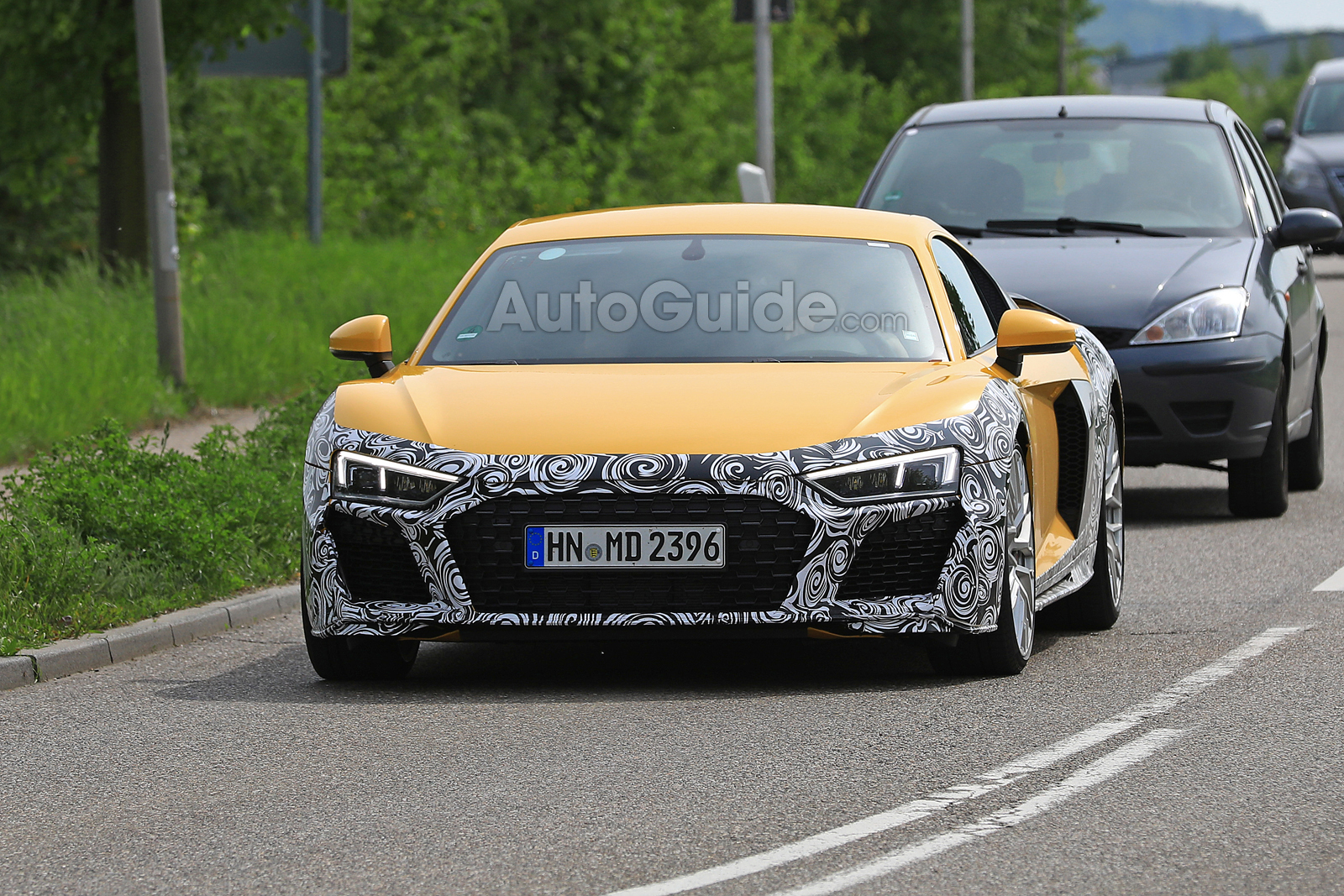 2020 audi r8 spied looking yellow and camouflaged news. Black Bedroom Furniture Sets. Home Design Ideas