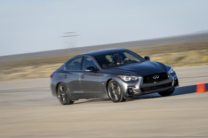 2020 Infiniti Q50 in silver at speed