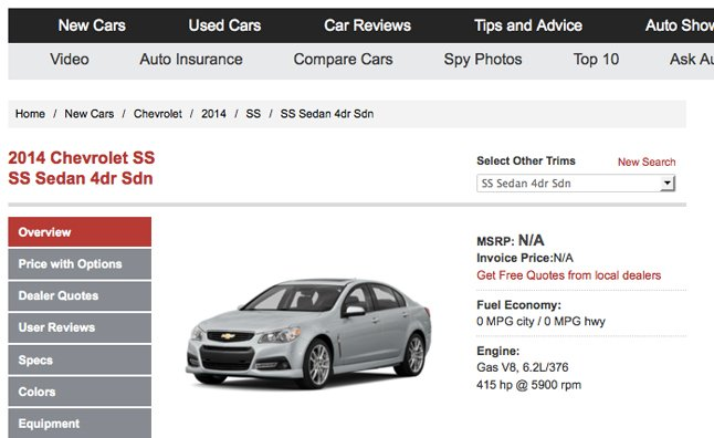 The All New 2014 Chevrolet SS Has Been Added To The AutoGuide New Car  Shopping Databse, With Detailed Specs As Well As Tools To Build Your Own  Custom Model.