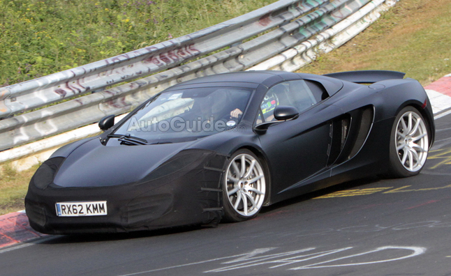 McLarenu0027s MP4 12C Spider Was Spied Testing Today With A Cover On Its Front  Fascia.