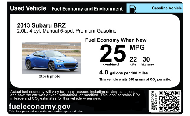 Used Car Mpg Window Stickers Available From Epa Autoguide Com News