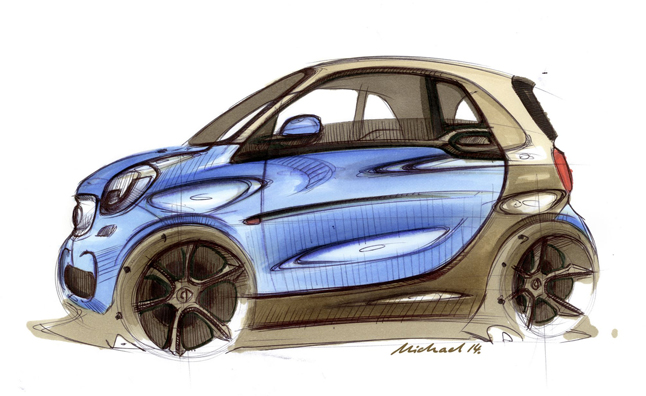A Brand New Generation Of Smart Car Will Be Unveiled Tomorrow And The Company Has Released Set Sketches To Preview What Cars Look Like