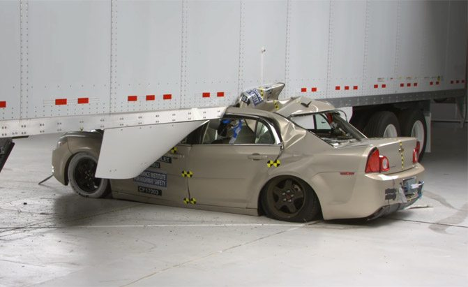 iihs side underride guards semi trailers crash test